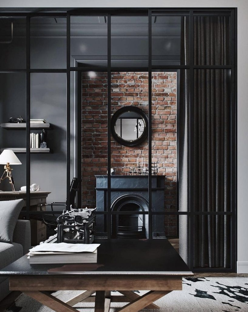 divisão de ambientes com portas de vidro